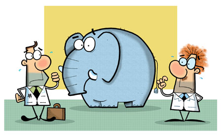 Cartoon shows elephant with scientist and business man, both startled at what they can see when they have their vision