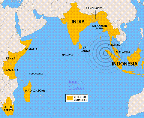 14 countries were affected by the tsunami
