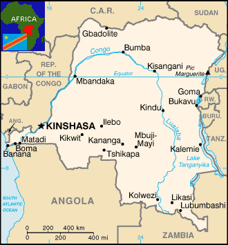 The Democratic Republic of Congo is an enormous country in the center of the African continent