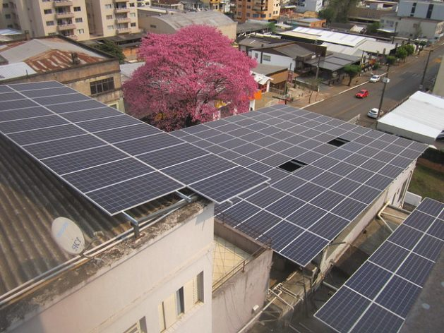 A hotel in Xanxerê, in the western part of the southern Brazilian state of Santa Catarina, took advantage of its rooftops to generate its own solar energy and save on electricity costs. Similar initiatives have taken place in other states of the country, such as the northeastern state of Paraíba, where solar power self-generation facilities are mushrooming in the capital, Sousa. CREDIT: Mario Osava/IPS