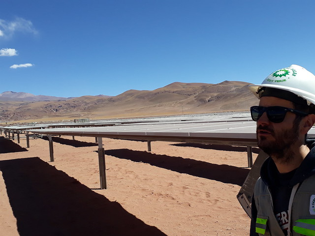 An engineer oversees the installation of the panels during the construction of the solar park, which involved the arrival of more than 2,600 trucks carrying Chinese technology to a remote area in the Puna high mountain plateau in the northwest of Argentina. CREDIT: Daniel Gutman/IPS