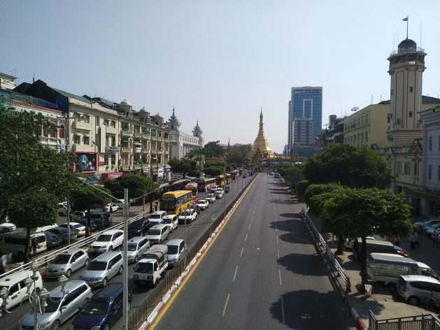 Central Yangon. According to locals there is a high level of uneasy calm right now and the army has focused on taking control of the political capital NayPyiTaw 629x472 - As Army Takes Over, Fear and Uncertainty Grip Myanmar Citizens