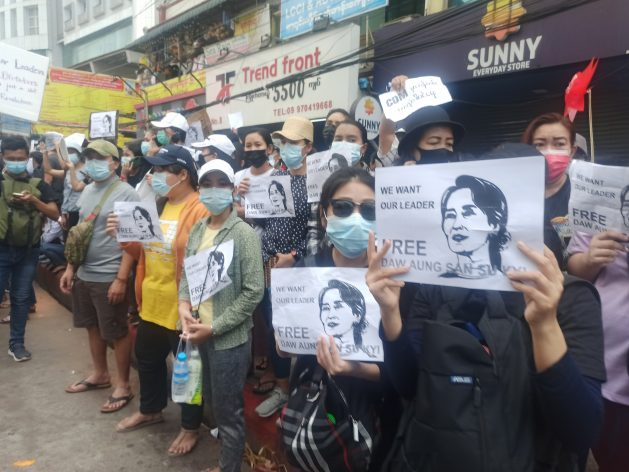 Protesters demand the release of civilian leader Aung San Suu Kyi.  Protesters remain united in the face of the security forces tightening the noose.  They face daily intimidation, threats, and harassment at the hands of police and soldiers in strategic centers to deter and disperse protests.  CC BY-SA 4.0.1 update