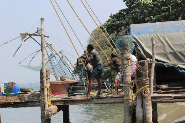 A recent UN report lays out the gravity of Earth's triple environmental emergencies of climate, biodiversity loss and pollution. Fishers on Kochi, Kerala operates the traditional lift-net method where catches have fallen drastically as a result of mechanised over-fishing. High fuel subsidies make it profitable for deep-sea fishing trawlers even when travelling large distances into sea. Safeguarding small fisher communities' rights, expanding marine conservation area can allow biodiversity and fish growth to stabilise. Credit: Manipadma Jena/IPS