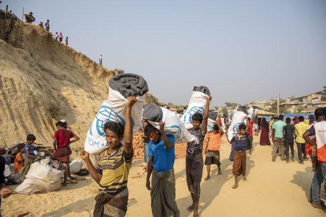 Emergency shelter kits that included blankets and other essentials that were distributed by aid agencies to Rohingya refugees. The WFP said it provided 62,000 hot lunches and hot dinners on Tuesday, Mar. 23. Credit: IOM/Mashrif Abdullah Al