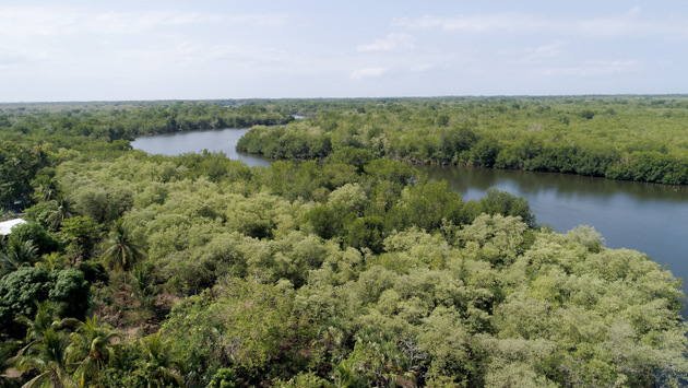 Aerial view of Estero de Jaltepeque, in San Luis La Herradura, a municipality on the Pacific coast in southern El Salvador where a sustainable development programme is being carried out in local communities, including the use of solar stoves and sustainable fishing and agriculture techniques. CREDIT: Edgardo Ayala /IPS