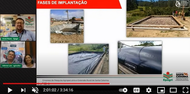Farmers Ademar Luiz and Zenilde Nunes Luiz decided to produce biogas to cook and heat water in their house in Laurentino, a municipality where winters are cold in the southern state of Santa Catarina, saving on firewood and electricity. This screenshot was taken from their presentation at the South Brazilian Biogas and Biomethane Forum, held in late March in Brazil. CREDIT: Mario Osava/IPS
