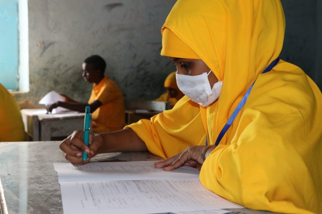 Thanks to funding 11,052 students, 4,568 of whom are girls, were able to sit for their grade 8 centralised final examinations in Puntland State, Somalia. Credit: Save the Children