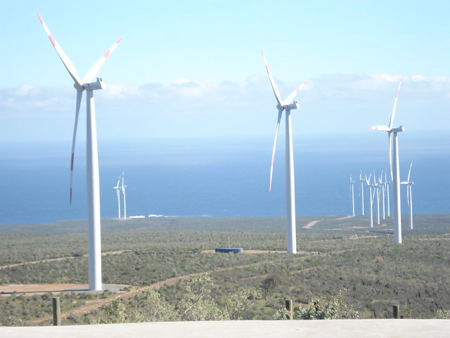 The Canela Wind Farm, with wind turbines 112 meters high and an installed capacity of 18.15 megawatts, generates electricity with wind from offshore in the Coquimbo region of northern Chile. CREDIT: Orlando Milesi/IPS