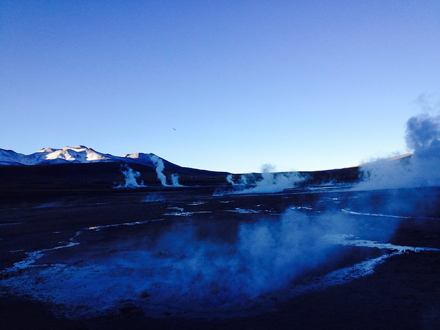 Sunrise amidst the steam from the geysers of El Tatio, in northern Chile. Geothermal energy is another clean, non-conventional energy, in this case also infinite, which Chile is beginning to harness with the Cerro Pabellón Geothermal Power Plant in the municipality of Ollagüe. CREDIT: Marianela Jarroud/IPS