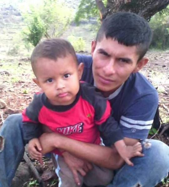 A photo of Oscar and his son Andrés, when they lived together in Huisisilapa, a village in central El Salvador. Five years ago the boy left with his mother for the small town of Stephenson, Virginia, and now Oscar is making his way across Mexico as an undocumented migrant, with the aim of living in the U.S. with his son, who is now eight years old. CREDIT: Courtesy of the family