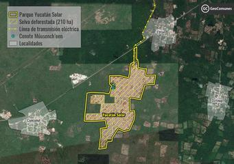 The Yucatan Solar Park, owned by Chinese company Jinko Solar, has been on hold in Mexico since 2019 due to a lack of adequate consultation with local indigenous communities. The image shows the planned location of the power plant, in the middle of the jungle in the southeastern state of Yucatan and, top right, the city of Valladolid. CREDIT: Justice Atlas