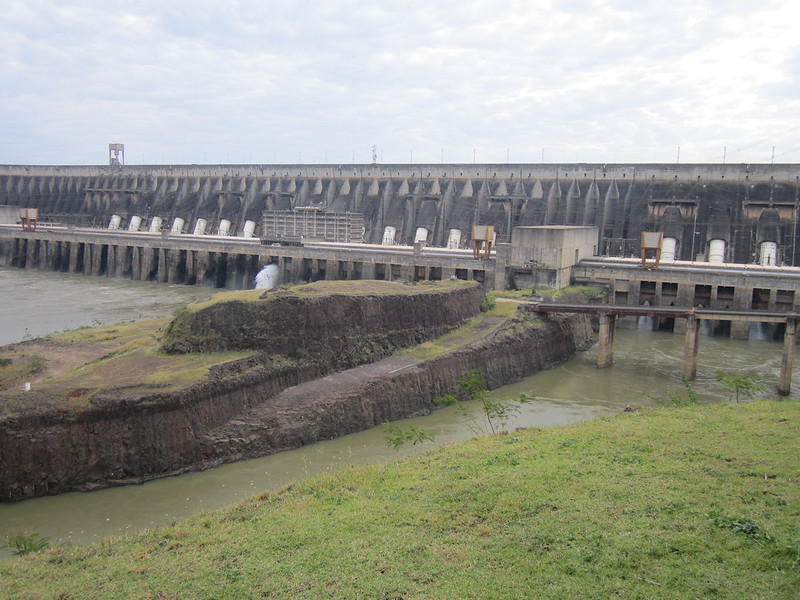View of the Itaipú hydroelectric plant shared by Brazil and Paraguay on the Paraná River, which forms part of the border between the two countries. In years of abundant rainfall it is the largest power plant in the world. With an installed capacity of 14,000 MW, it is much smaller than China's Three Gorges, with a capacity of 22,400 MW. But this year the Itaipu dam's generation will fall sharply due to drought. CREDIT: Mario Osava/IPS