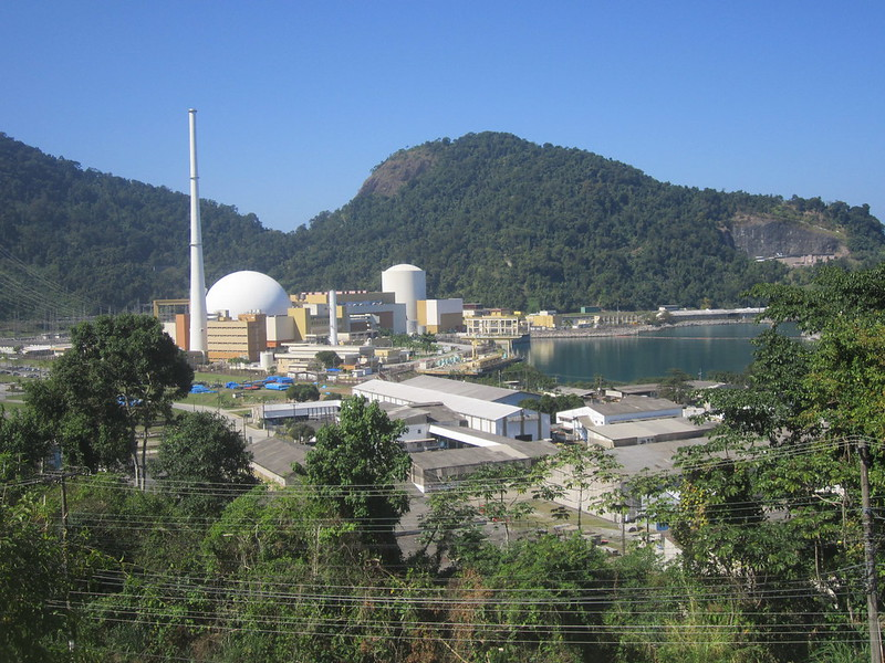 Angra 1 and 2, the two nuclear power plants currently in operation in Brazil, in a coastal locality 150 km south of Rio de Janeiro, have a capacity of 640 and 1,350 MW, respectively. Angra 3, under construction intermittently since the 1980s next to the first two, will have the same capacity as Angra 2. CREDIT: Mario Osava/IPS